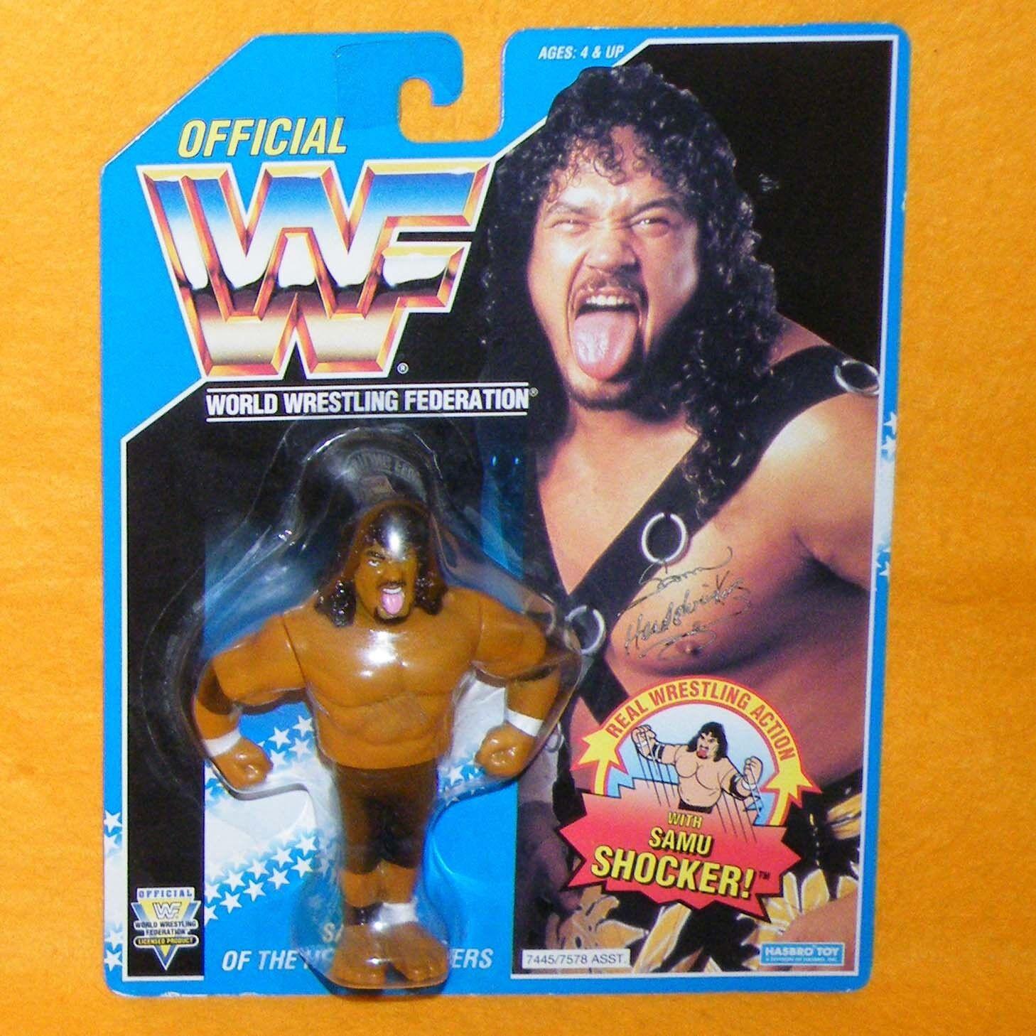 Vintage 1993 Hasbro WWF Wrestling SAMU de la tête shrinkers figure MOC cardées