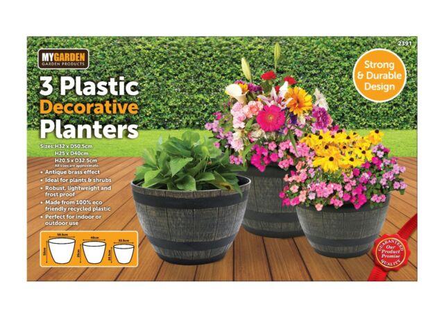 3pcs Barrel Flower Planter Pot Plastic wooden Effect Outdoor Decoration Garden