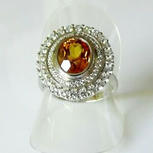 Handarbeit Luxus Oval Orange Morganit Saphir Damen Ring 925er Silber 17,2 mm 54