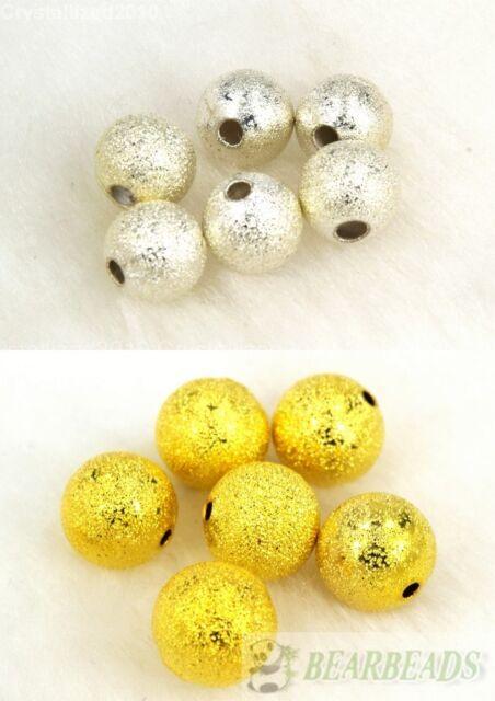 100 un Bola Redonda Metal Stardust espaciador granos de plata chapado en oro 8 mm 10 mm 12 mm