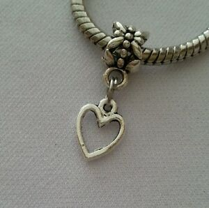 Silver-Heart-Dangle-Bead-Slider-for-European-Style-Charm-Bracelet-Necklace