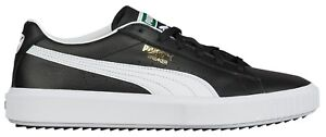 Puma-Mens-Shoes-Breaker-Black-White-Leather-Casual-Fashion-Sneaker-NEW