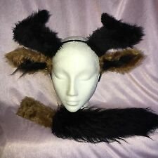 WILDEBEEST from Lion King Ears, Horns And Tail Set Black/Brown Fur Fancy Dress