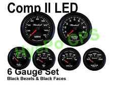 Comp Ii 2 Sport Led 6 Gauge Auto Gauge Meters Black With Black Bezels Made In Usa
