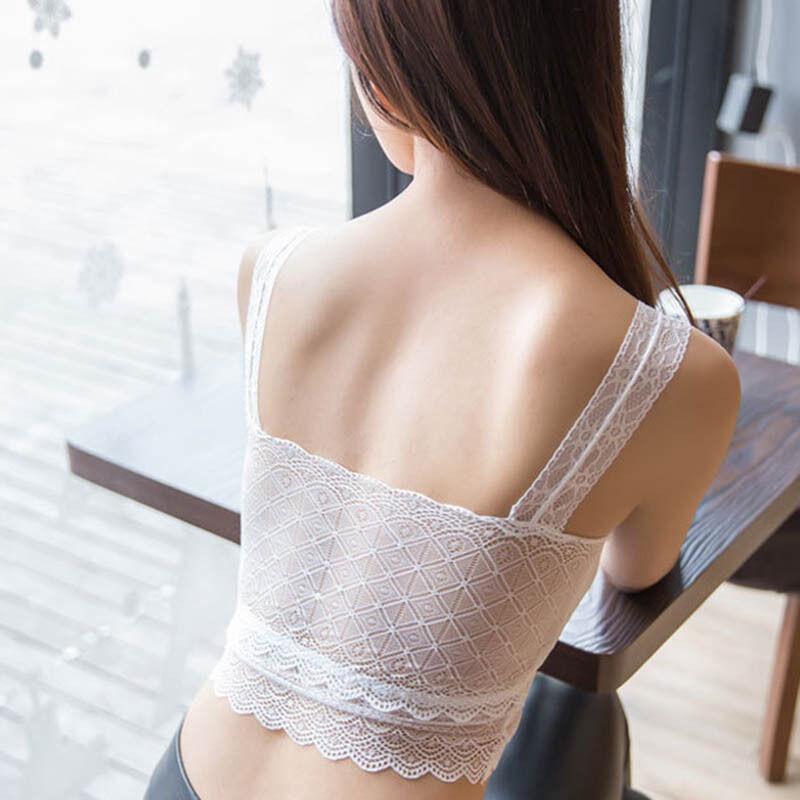 เสื้อชั้นในลูกไม้ แฟชั่นเกาหลีเสื้อครอปทับโชว์เอวเซ็กซี่ผ้าลูกไม้ทั้งตัว นำเข้า ฟรีไซส์ สีขาว/ดำ - พร้อมส่งTJ7718 ราคา350บาท