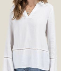 NWT-Francesca-039-s-Alya-Long-Sleeve-Bell-Blouse-Top-White-Size-M