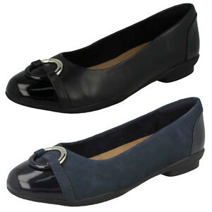 Marino O Vid Ajuste Azul Clarks Planos Zapatos Negro Cuero E Mujer Neenah wOxYanq