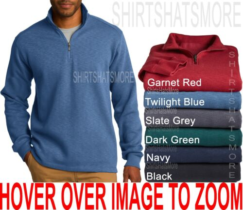 Mens 1//4 Zip Pullover Sweater Quality Cotton//Poly Open Bottom Hem S-2XL 3XL 4XL