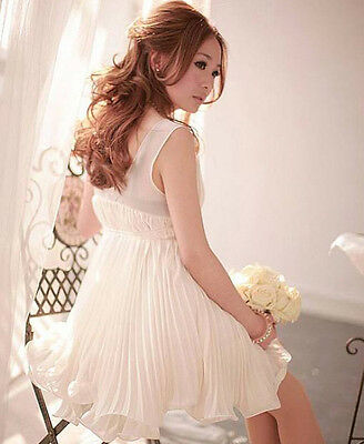 White Sexy Womens Deep V-Neck Goddess Gown Sleeveless Elegant Pleated Mini Dress