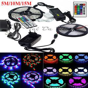 5M-10M-15M-3528-5050-RGB-White-SMD-Flexible-Light-LED-Strip-12V-Power-Remote-IR