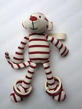"Jellycat Little Zoot Monkey Red White Striped Plush Ankle Bracelets Rattle 10"""
