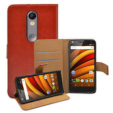 Wallet BROWN Leather Flip Case Cover Pouch Saver For Motorola Moto X Force