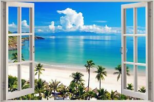 Huge-3D-Window-view-Exotic-Ocean-Beach-Wall-Sticker-Film-Art-Decal-Wallpaper-S85