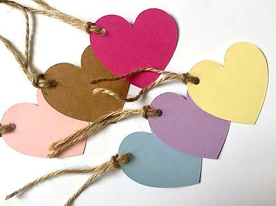 25//50//100 HEART GIFT TAGS HANDMADE NAME CARD//WEDDING FAVOUR LABEL TAG-PLAIN-6cm