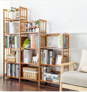 Bamboo Wood Shelves Bookcase Display Furniture Organizer Rack Storage Home Decor