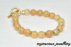 Natural Citrine Gold Gemstone Bracelet Elasticated Beaded Reiki Chakra UK Stone