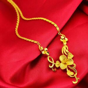 Lucky-Vintage-Flower-Pendant-Necklace-Chain-Women-24k-Yellow-Gold-Filled-Jewelry