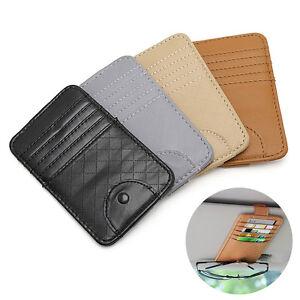 PU Leather Sun Visor Organizer Pen Holder Credit Card Cash Storage Wallet Brown