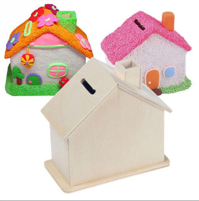 Piggy Bank Chalet Coin House Save money Base Art Decor Children Baby Wooden LS