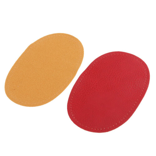 1 Pair Leather Sew on Elbow Knee Patches DIY Repair Mending Applique Red