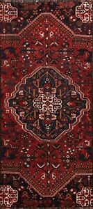 Antique-Tribal-Geometric-Abadeh-Wool-Runner-Rug-Traditional-Hand-knotted-3x8-ft