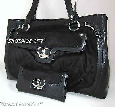 Guess Mia Luxe Shoulder Bag Purse Satchel Tote Handbag Sac Wallet Set New Black Ebay