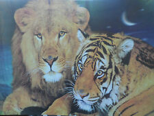 ICON! Lion! Tiger! 3D Picture! Poster! Lenticular! Animals! 2 pictures in 1!
