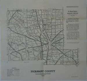 Official 1936 Road Map Pickaway County Ohio Circleville Railroads