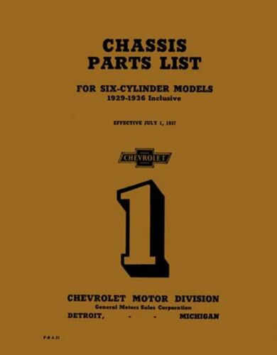 OEM Repair Maintenance Parts Book Bound for Chevrolet Car /& Truck 1929-1936
