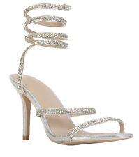 Womens Ladies High Heel Diamond Detail Heels Wrap Around Leg Strap Shoes Size