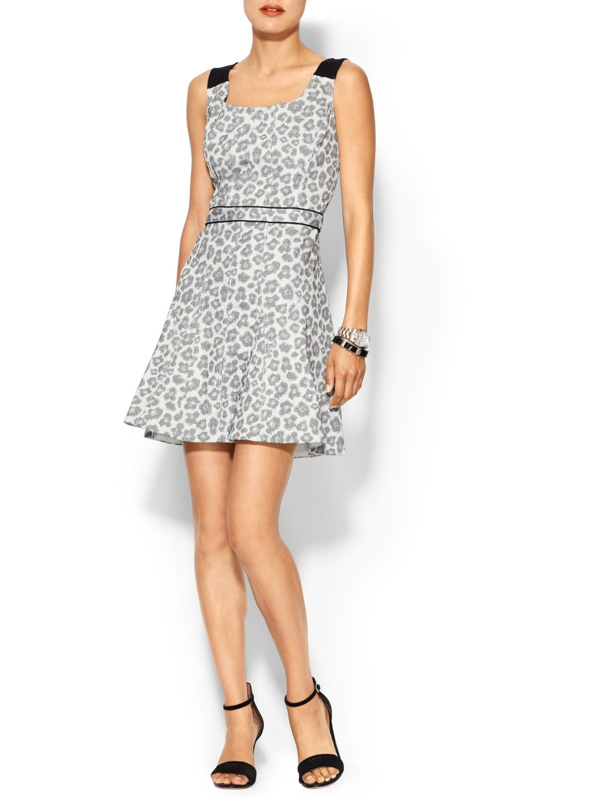 MARC BY MARC JACOBS  LEOPARD JACQUARD FIT AND FLARE DRESS S 6