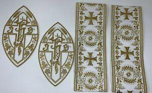 Ihs-Cruz-Emblems-Banda-Vestment-Oro-Rayon-Encendido-Blanco-6-PC-Lote
