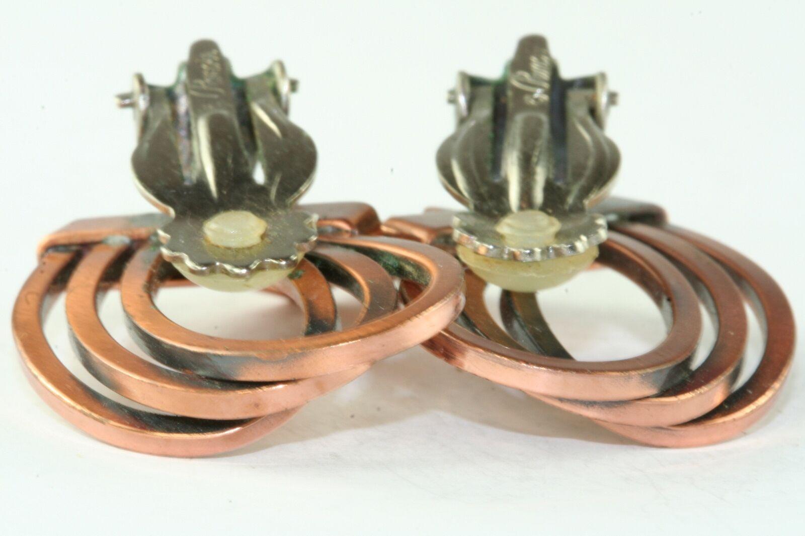 VTG RENOIR COPPER SWIRLY CLIP EARRINGS - image 2