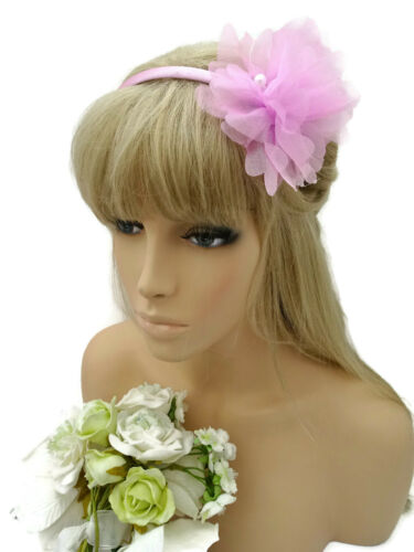 Pretty Light Pink Flower Fascinator on a Headband with Pearl Beads