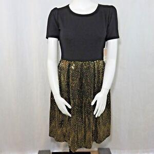 New-LuLaRoe-XL-Amelia-Dress-Elegant-Collection-Black-Gold-Sparkle-Shimmer-Disco