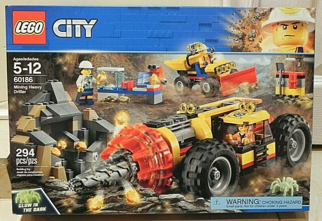 LEGO City 60186 Mining Heavy Driller with Glow in the Dark Spider New In Box