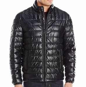 b48d7901fcd Details about Tommy Hilfiger Men's Quilted Faux-Leather Puffer Jacket -  Black, All sizes