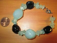 Stone Bracelet with Black Onyx ? & Green Stones Jade? Lobster Claw Clasp