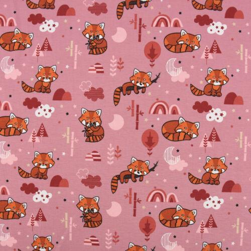 Baumwolljersey Fuchs Wolken Sterne Bäume rosa pink orange 1,5m Breite