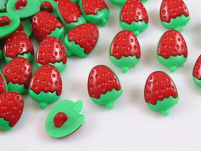 Red strawberry 100 pcs Plastic Buttons backhole Baby sewing craft Free Shipping