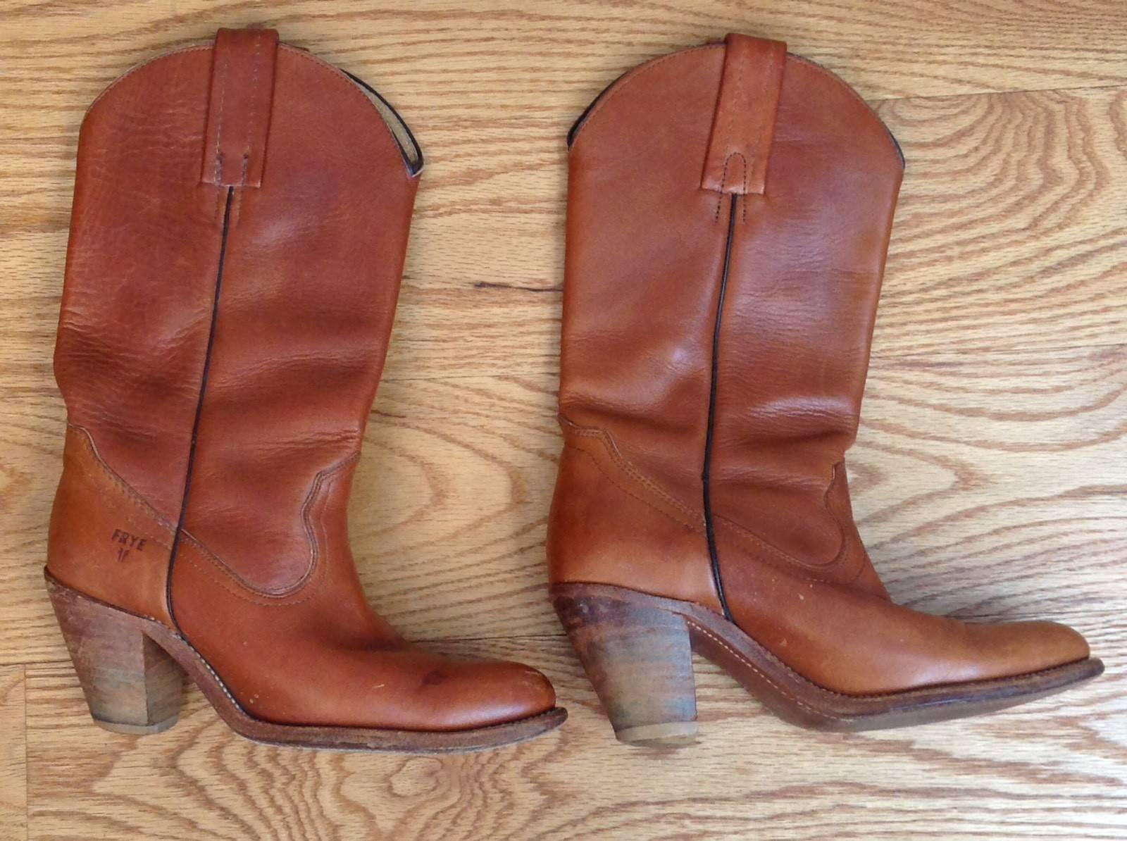 Vintage FRYE Cowboy BOOTS Brown 6175 ALL LEATHER # 6175 Brown SIZE 6 1/2 B Tan Cognac HIGH 883b44
