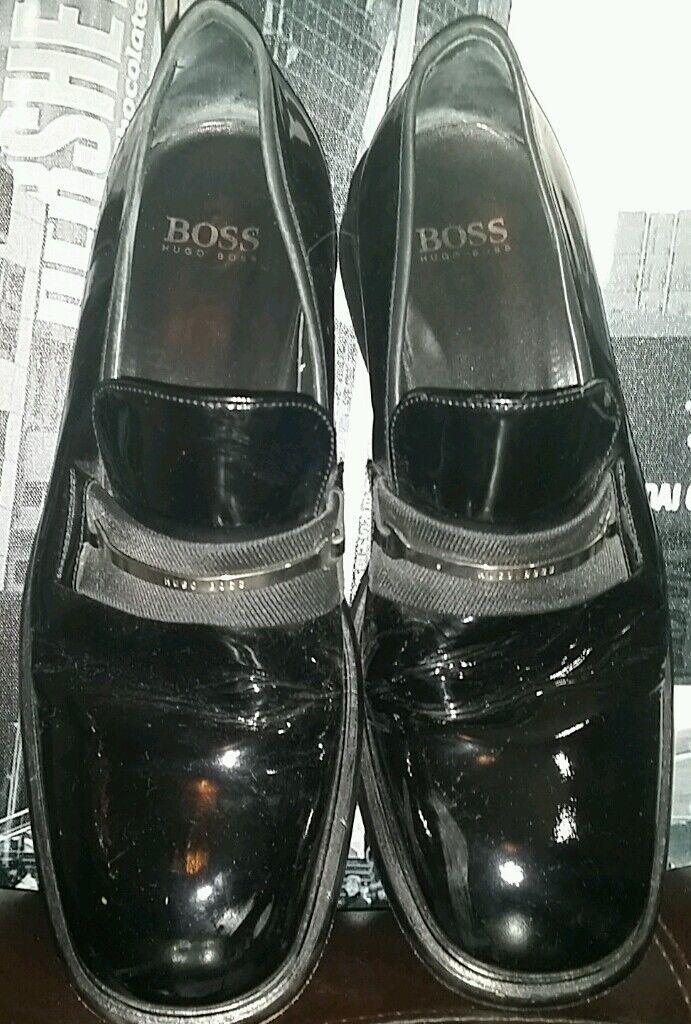 vendita outlet Rare Vintage ICONIC HUGO BOSS BOSS BOSS nero BOYFRIEND Loafers scarpe Patent Tuxedo 9.5  con il 60% di sconto
