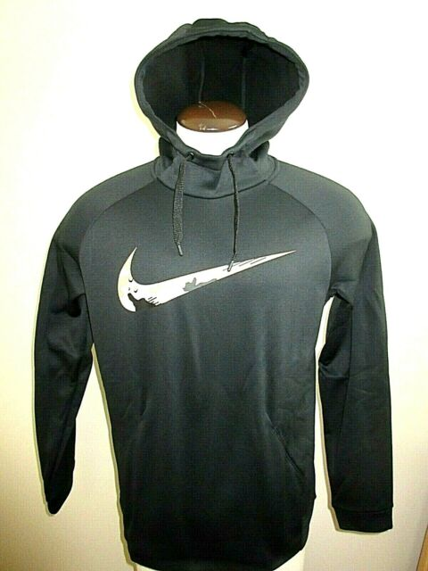 Nike Therma Pullover Hoodie Mens AR3113-010 Black Camo Logo Hoody Size L