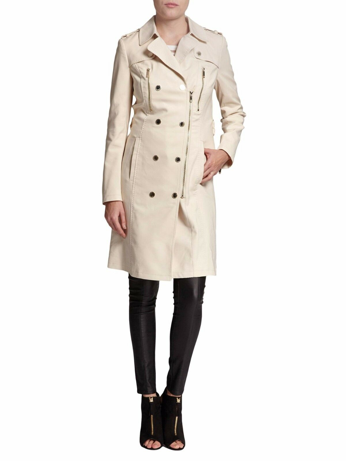 Morgan Buttoned Cotton Trench Coat UK Size 14 rrp  TD075 JJ 11