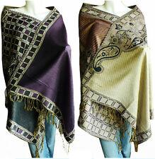 Soft Women/'s Triplelayer Jacquard Pashmina Shawl Wrap Stole Scarf BB