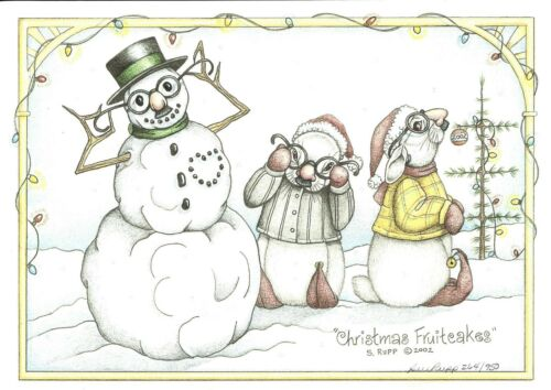 "Sue Rupp Bunny /""Christmas Fruitcakes/"" s//n lim ed print"