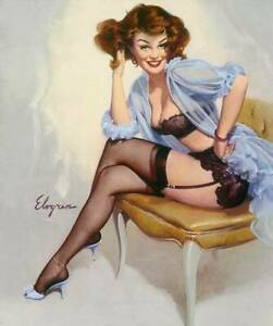 c1e6e2e85d2 Details about Gil ELVGREN Pinup WELL SEATED Original Painting LINGERIE  Pin-Up Garter Stockings