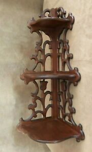 Vintage-Coin-Pendaison-Murale-Etagere-en-bois-22-034-sculpte-Display-Art-Obecni-antique