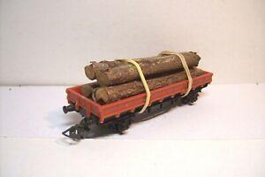 WAGONS-TRAIN-HO-PLAT-A-RIDELLES-BASSES-BOIS-de-HORNBY-OCCAS-sans-boite