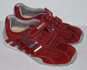 uk availability discount official supplier Details about GEOX Respira Red Suede Leather Sneakers Kids Size 32 US Size 1
